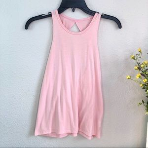 Onzie twisted open back blush pink tank top